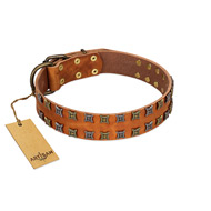 """Terra-cotta"" FDT Artisan Tan Leather Great Dane Collar with Two Rows of Studs"