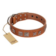 """Antique Figures"" FDT Artisan Tan Leather Great Dane Collar with Silver-like Engraved Plates"