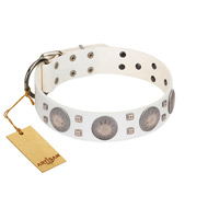 """Mighty Shields"" FDT Artisan White Leather Great Dane Collar with Chrome Plated Shields and Square Studs"