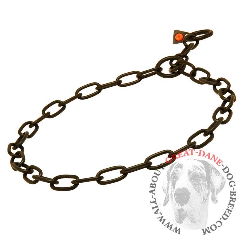 Stainless Steel Stylish Black Fur Saver Collar For Great Dane