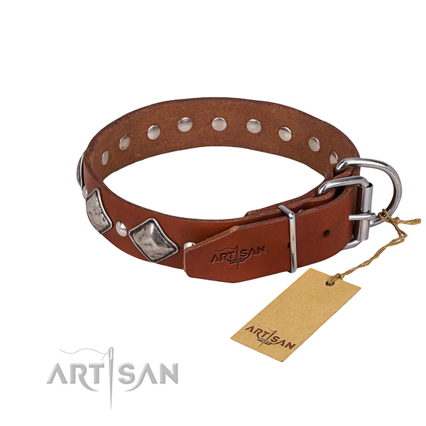 Durable leather dog collar with corrosion-resistant details