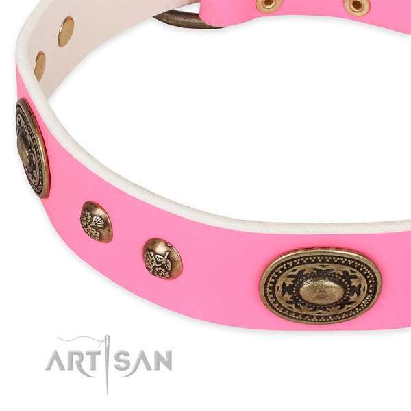 Walking full grain genuine leather collar with durable buckle and D-ring