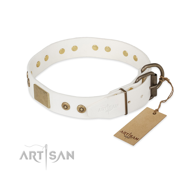 Handy use full grain genuine leather collar with embellishments for your canine