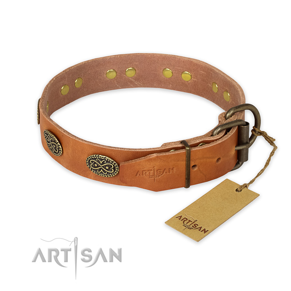 Walking full grain genuine leather collar with decorations for your doggie