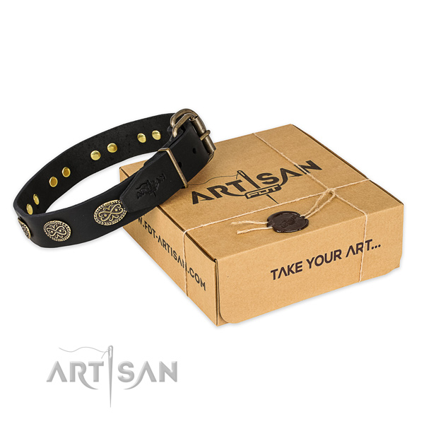 Stylish design leather dog collar for stylish walking