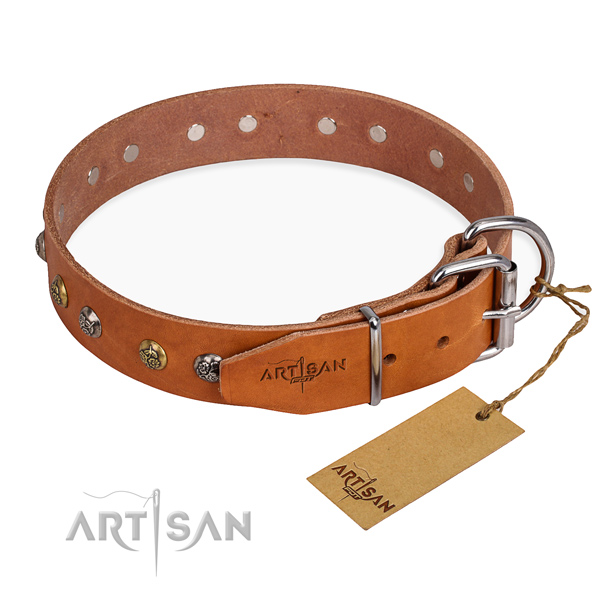 Exceptional design studs on natural genuine leather dog collar