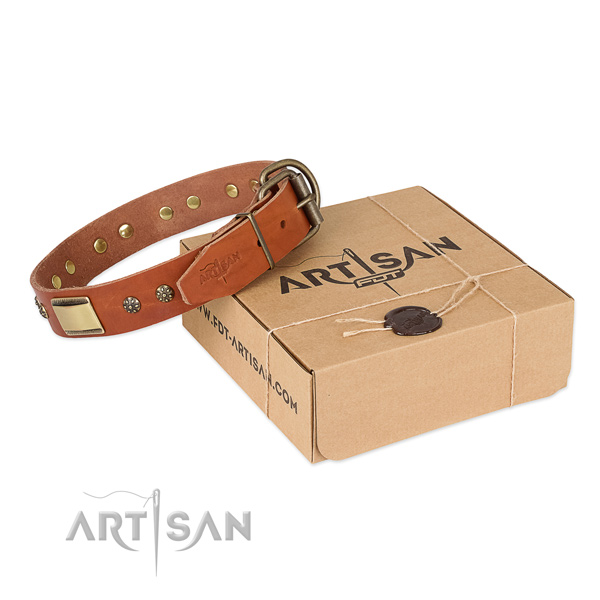 Best quality full grain genuine leather dog collar for everyday use