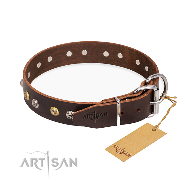 Tear-proof leather collar for your stunning canine