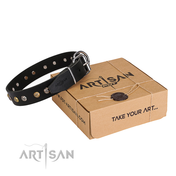 Perfect fit natural genuine leather dog collar for walking in style