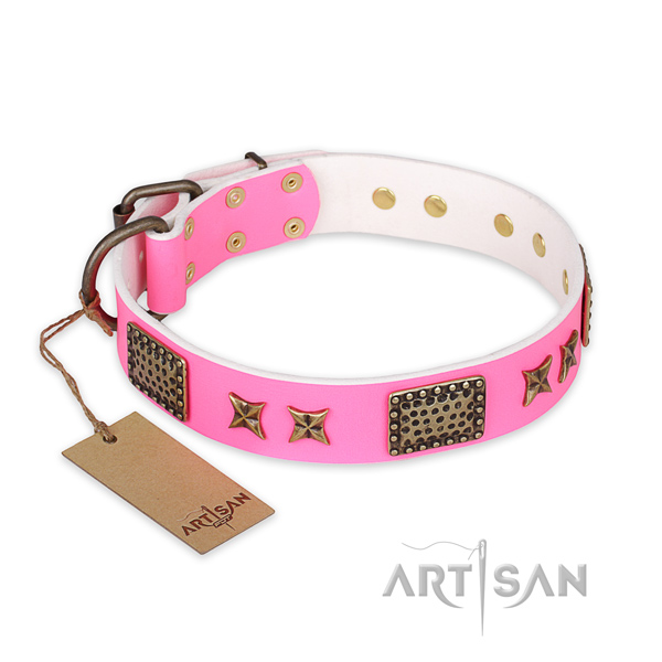 Inimitable design embellishments on natural genuine leather dog collar