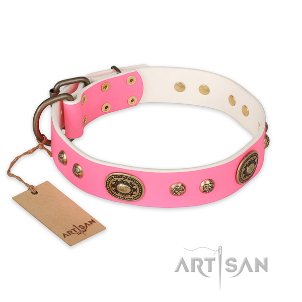 Exquisite design embellishments on natural genuine leather dog collar