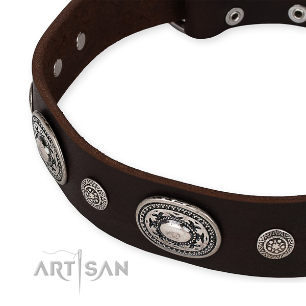 Quick to fasten leather dog collar with extra strong rust-proof buckle