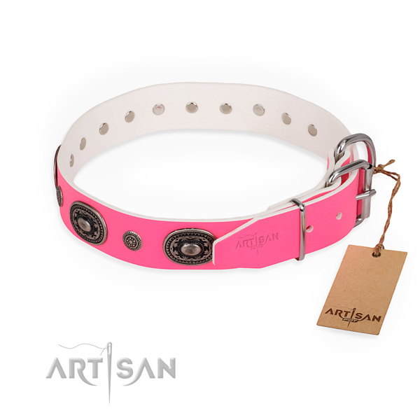 Unusual design embellishments on genuine leather dog collar