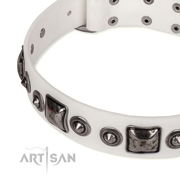 Easy to adjust leather dog collar with extra strong durable buckle