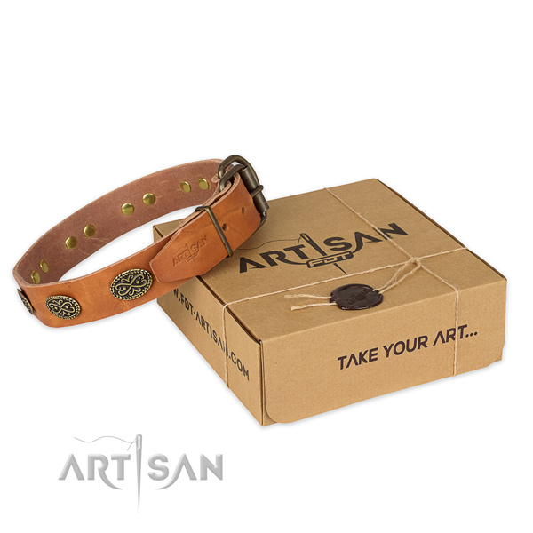 Incredible natural genuine leather dog collar for everyday use