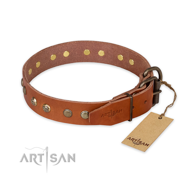 Daily use full grain leather collar with decorations for your doggie