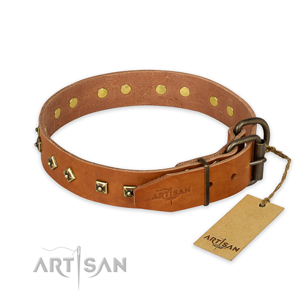 Daily walking full grain natural leather collar with decorations for your pet