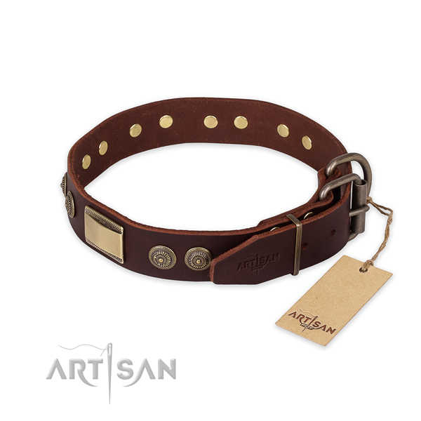Handy use genuine leather collar with decorations for your pet