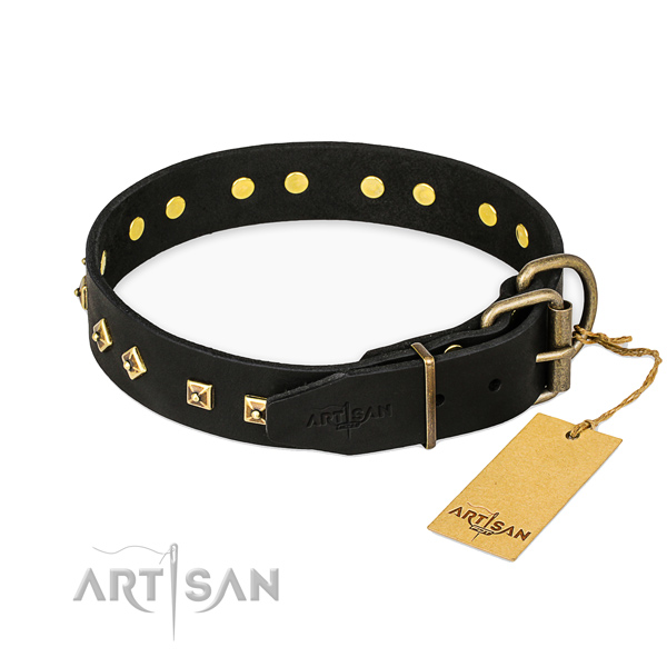 Handy use genuine leather collar with studs for your four-legged friend