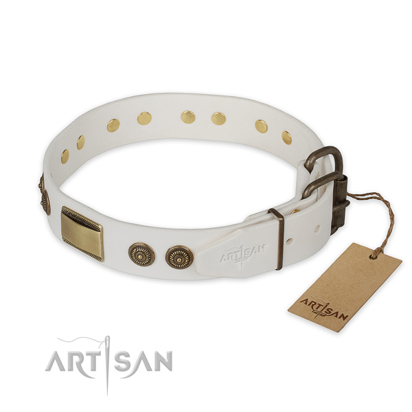 Everyday use full grain genuine leather collar with studs for your doggie