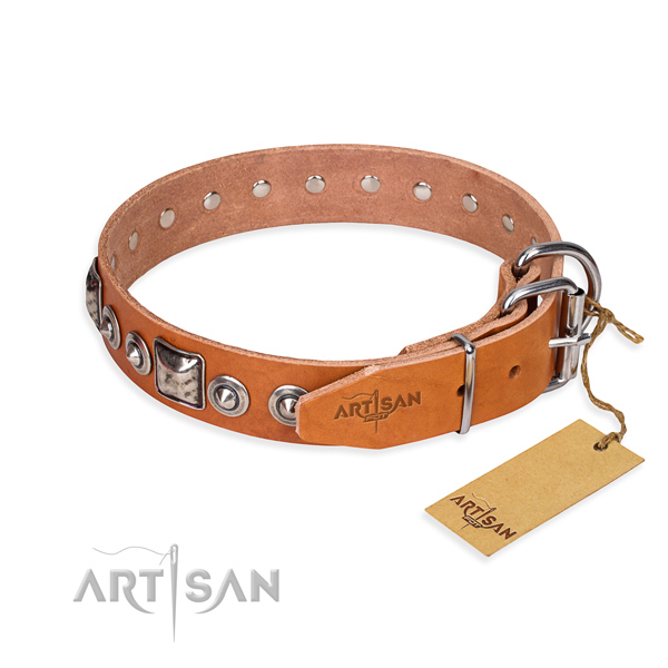 Wear-proof leather collar for your noble pet