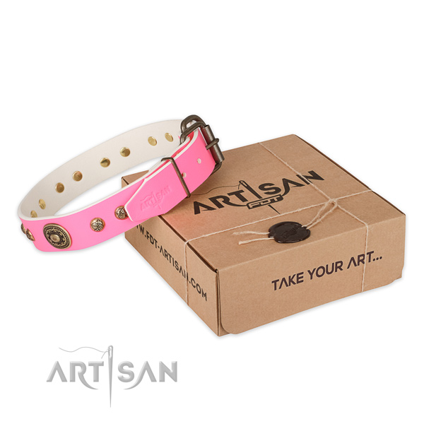 Perfect fit genuine leather dog collar for walking