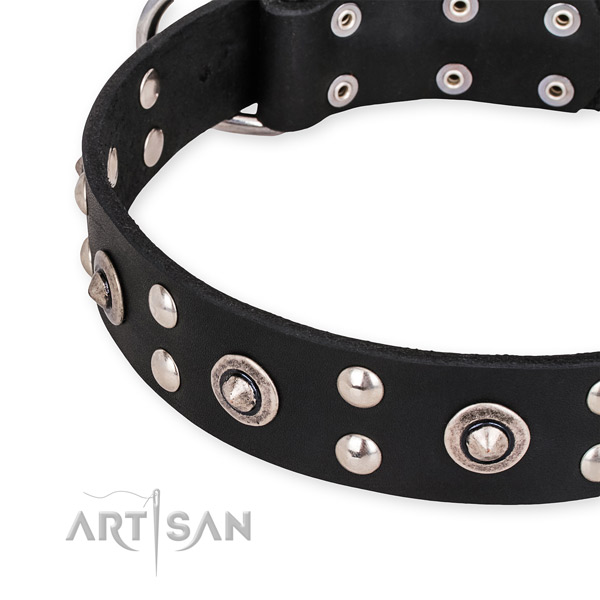 Easy to adjust leather dog collar with extra sturdy non-rusting set of hardware