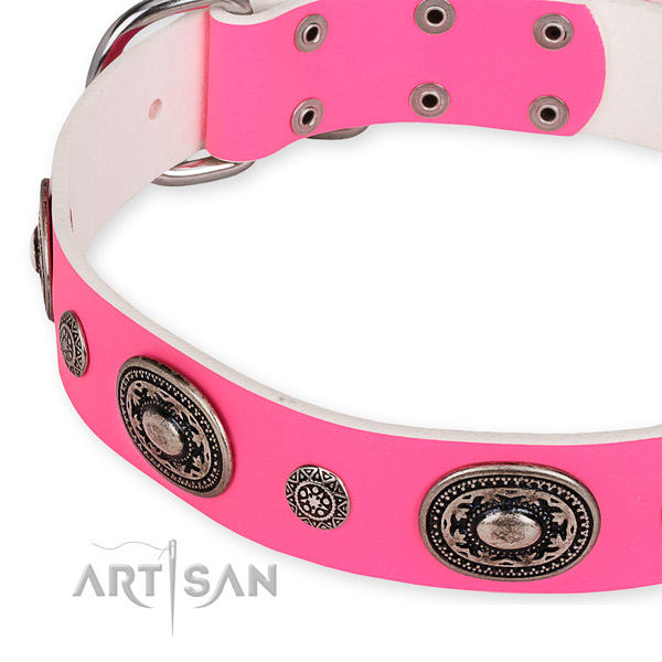 Easy to adjust leather dog collar with resistant to tear and wear non-rusting hardware