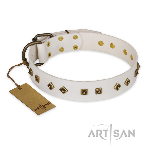 Top notch design embellishments on natural genuine leather dog collar
