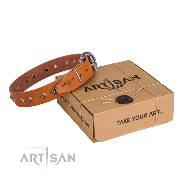Top quality full grain leather dog collar for daily use