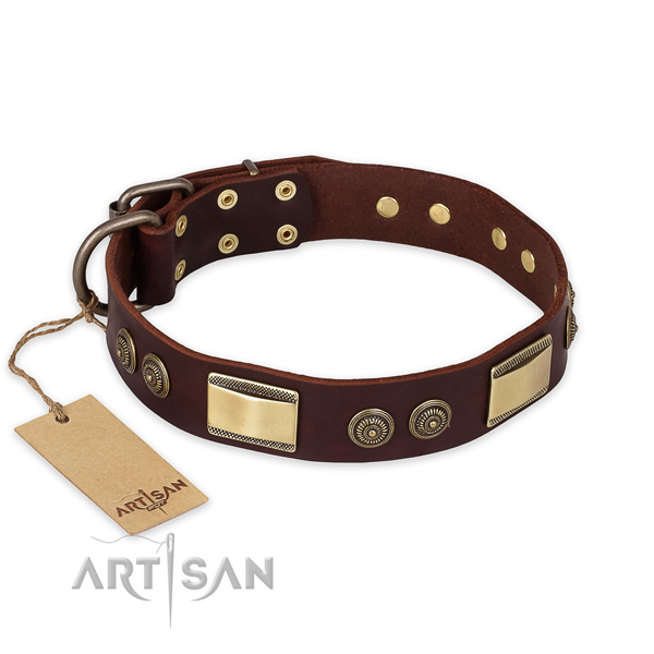 Unique design studs on natural genuine leather dog collar