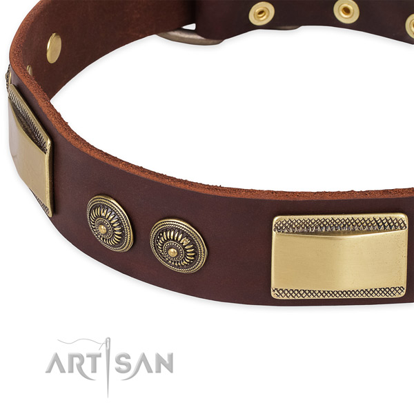 Everyday use natural genuine leather collar with corrosion resistant buckle and D-ring