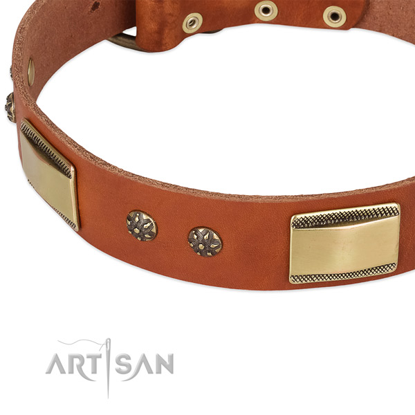 Handy use genuine leather collar with corrosion resistant buckle and D-ring