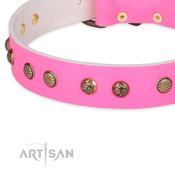 Easy to put on/off leather dog collar with resistant to tear and wear non-rusting buckle and D-ring