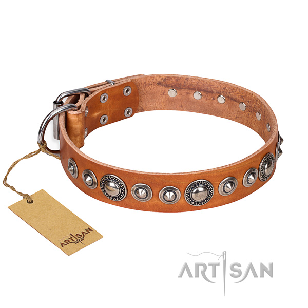 Hardwearing leather dog collar with rust-proof details
