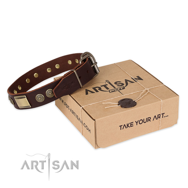 Top quality natural genuine leather dog collar for daily use
