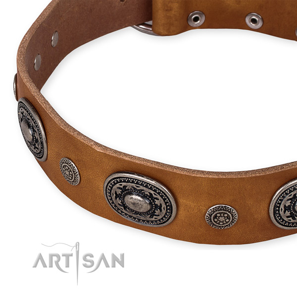 Easy to use leather dog collar with almost unbreakable non-rusting buckle