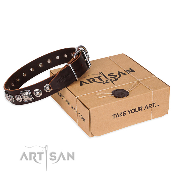 Top quality full grain leather dog collar for everyday use
