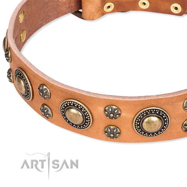 Adjustable leather dog collar with almost unbreakable durable hardware