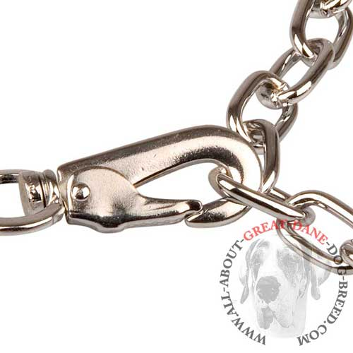 Adjustable Chain Great Dane Fur Saver with Snap Hook