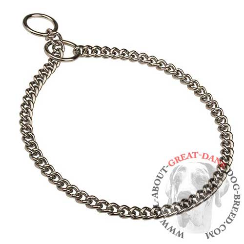 Reliable choke Great Dane collar with chrome plating