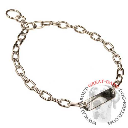 Comfy choke chain Great Dane collar with ID plate
