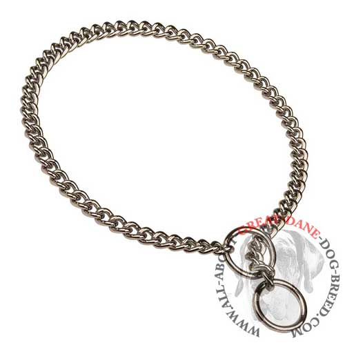 Durable non-rusting metal choke Great Dane collar