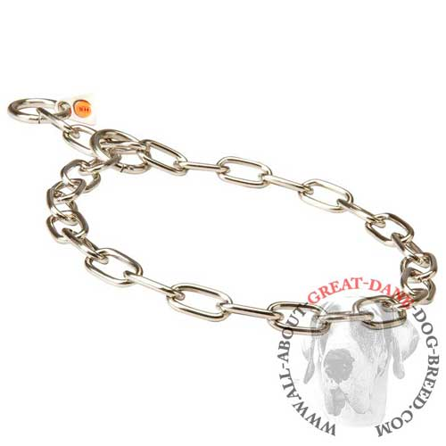 Great Dane choke chain collar with fur saving links