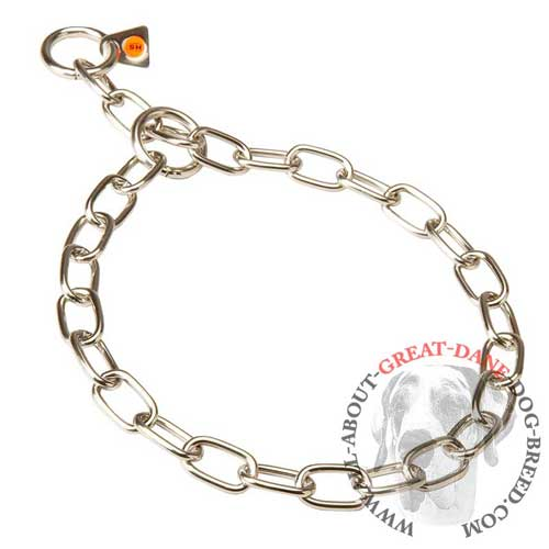 Easy in use choke chain Great Dane collar with O-rings