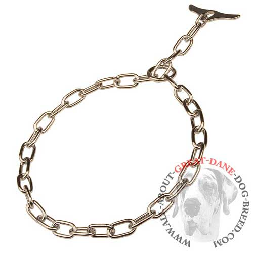 Fur saver choke chain Great Dane collar with chrome plating