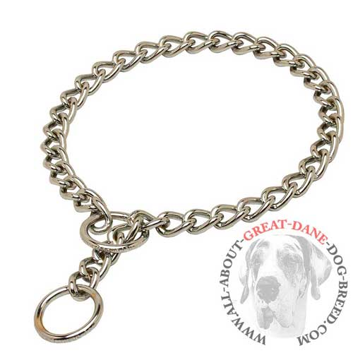 Collar for Great Dane with polished links