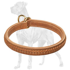 Braided Great Dane leather choke collar