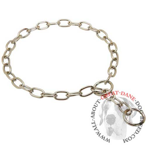 Chrome plated choke chain collar for Great Dane