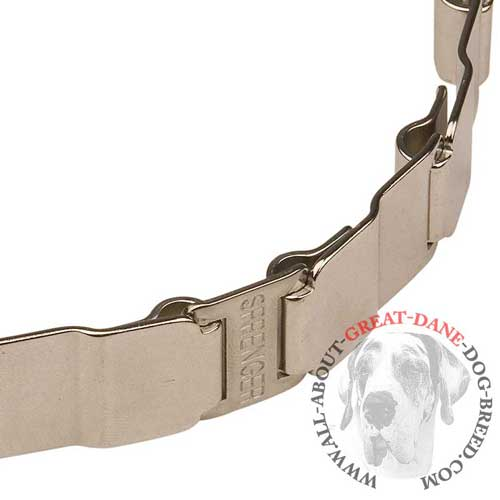 Durable neck tech non-rusting metal collar for Great Dane